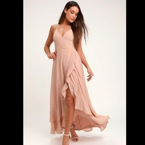 Lulus's Nude Lace-up High-Low Maxi Dress